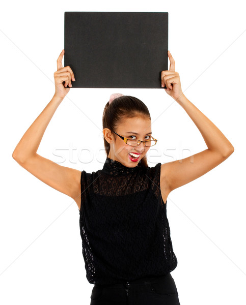 Blank Black Board Held By Smiling Girl Stock photo © stuartmiles