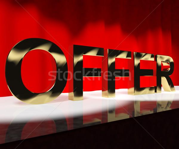 Oferecer palavra etapa significado desconto mostrar Foto stock © stuartmiles