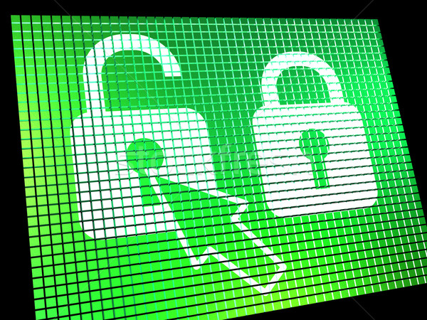Unlocked Padlock Computer Screen Showing Access Or Protection On Stock photo © stuartmiles