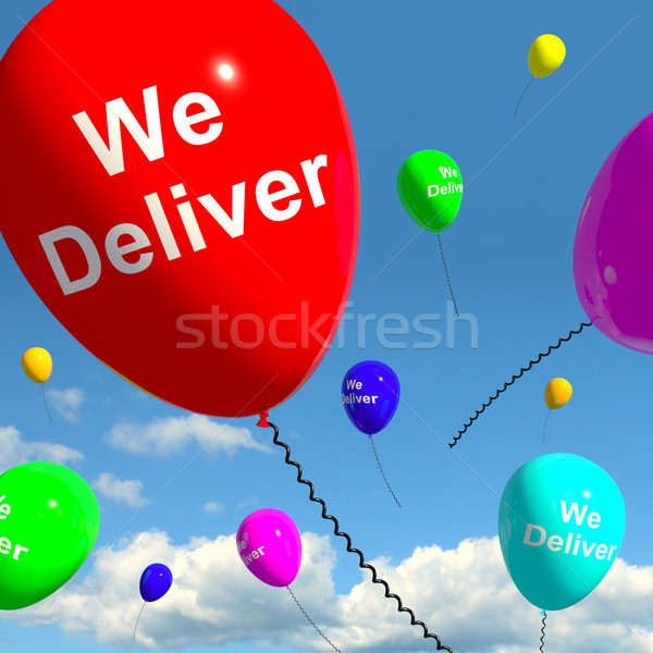 Stock photo: We Deliver Balloons Showing Delivery Shipping Service Or Logisti