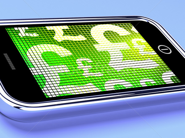 British Pounds Signs On A Mobile Phone Screen Stock photo © stuartmiles