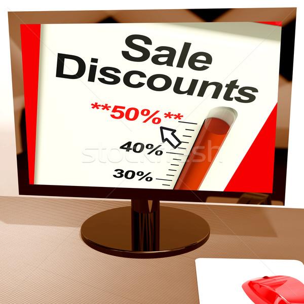 Fifty Percent Sale Discounts Showing Online Bargains Stock photo © stuartmiles