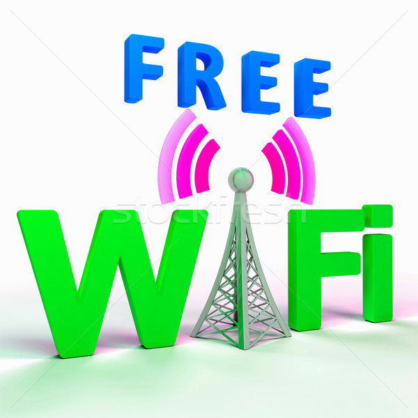 Wifi Internet Symbol Shows Hotspot Or Connection Stock photo © stuartmiles