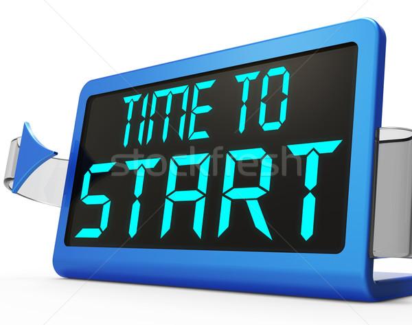 Stockfoto: Tijd · start · bericht · tonen · begin