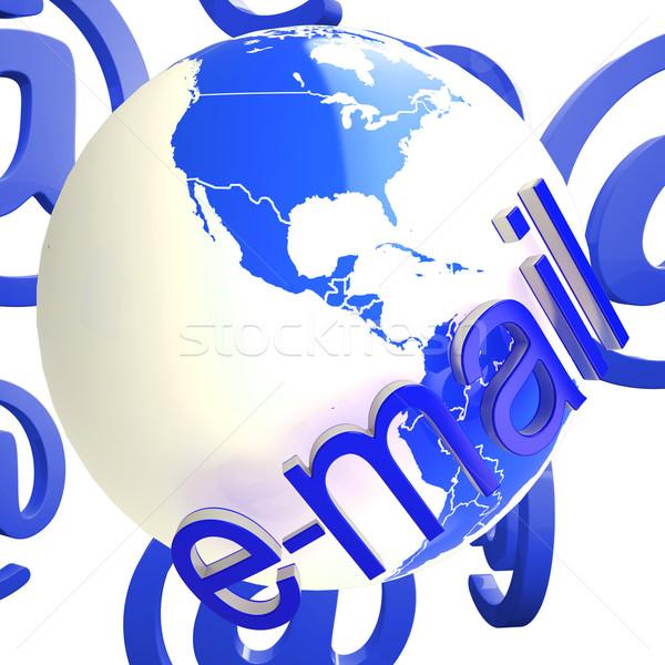 E-mail wereldbol tonen wereldwijd wereld Stockfoto © stuartmiles