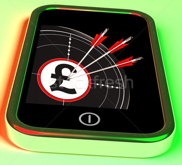 Pond symbool smartphone koninkrijk rijkdom valuta Stockfoto © stuartmiles