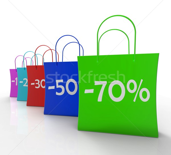 Percent Off On Shopping Bags Shows Bargains Stock photo © stuartmiles