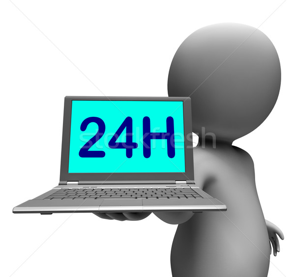 24h Laptop And Character Shows All Day Open On Web Stock photo © stuartmiles