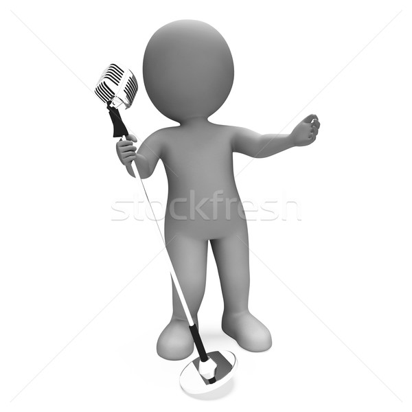 Piosenkarka wydajność muzyki karaoke mikrofon koncertu Zdjęcia stock © stuartmiles
