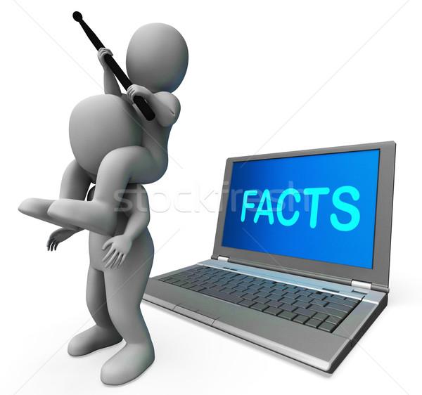 Stockfoto: Feiten · laptop · gegevens · rapporten · kennis