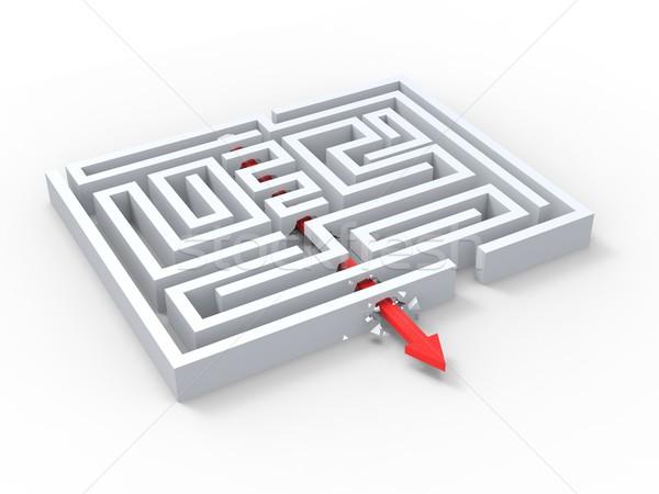 ストックフォト: ブレーク · 外に · 迷路 · パズル · 終了する