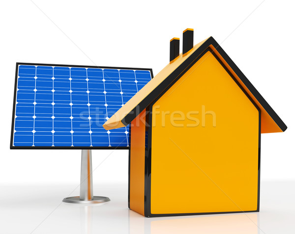 Solar Panel By Home Shows Renewable Energy Stock photo © stuartmiles