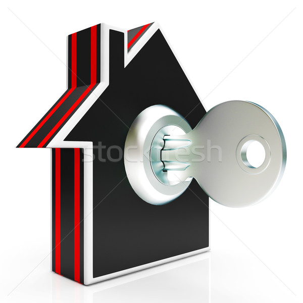 Home And Key Shows House Secure Or Locked Stock photo © stuartmiles