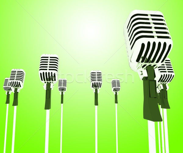 Microphones Mics Shows Musical Group Or Concert Stock photo © stuartmiles