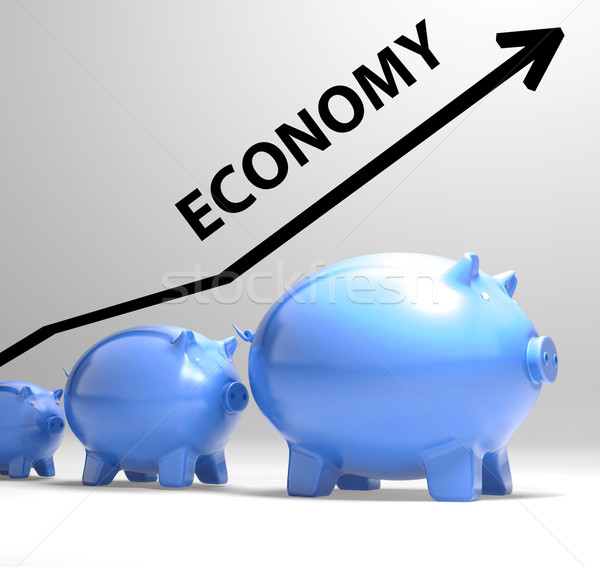 Economy Arrow Means Economic System And Finances Stock photo © stuartmiles