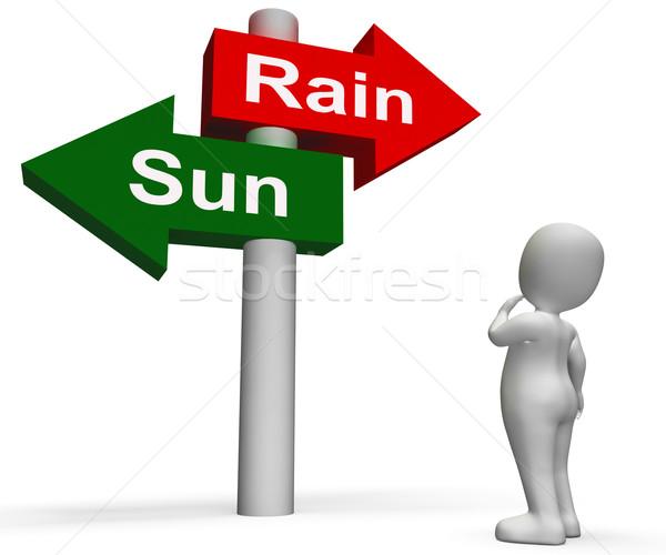 Zon regen wegwijzer weer prognose zonnige Stockfoto © stuartmiles