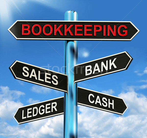 Bookkeeping Sign Means Sales Ledger Bank And Cash Stock photo © stuartmiles