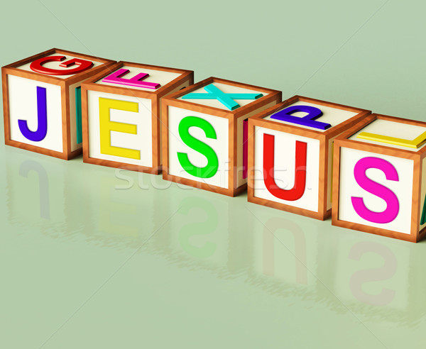 Jesus Blocks Show Son Of God And Messiah Stock photo © stuartmiles
