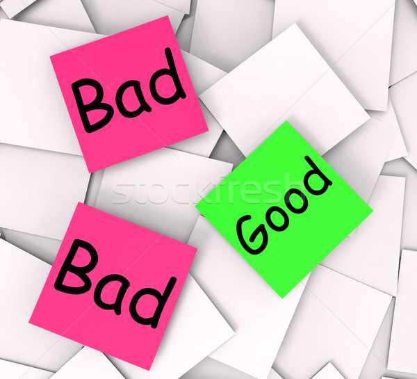 Good Bad Post-It Notes Show Satisfying Or Awful Stock photo © stuartmiles