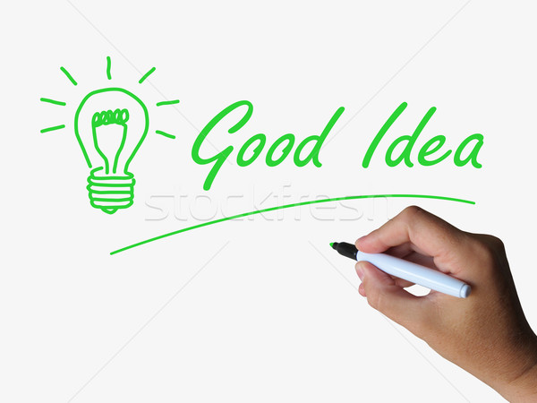 Good Idea and Lightbulb Indicate Bright Ideas and Concepts Stock photo © stuartmiles