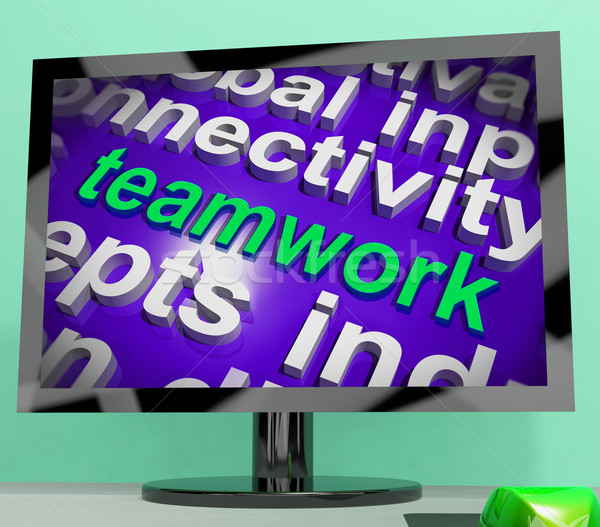 Teamwork Word Cloud Shows Combined Effort And Cooperation Stock photo © stuartmiles