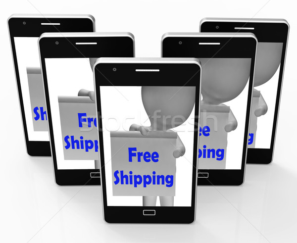 Free Shipping Sign Phone Means Product Shipped At No Cost Stock photo © stuartmiles