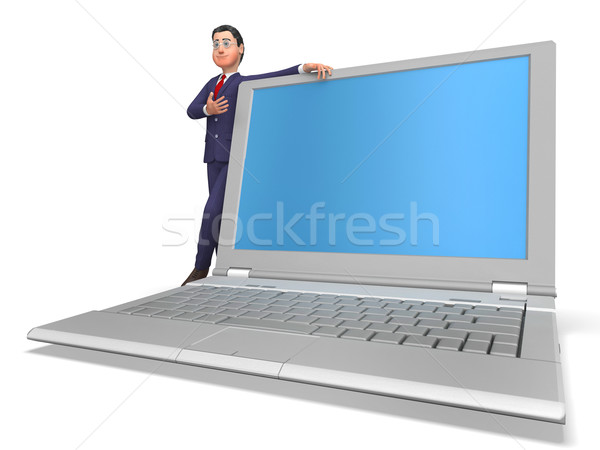 Businessman Presenting Means World Wide Web And Businessmen Stock photo © stuartmiles