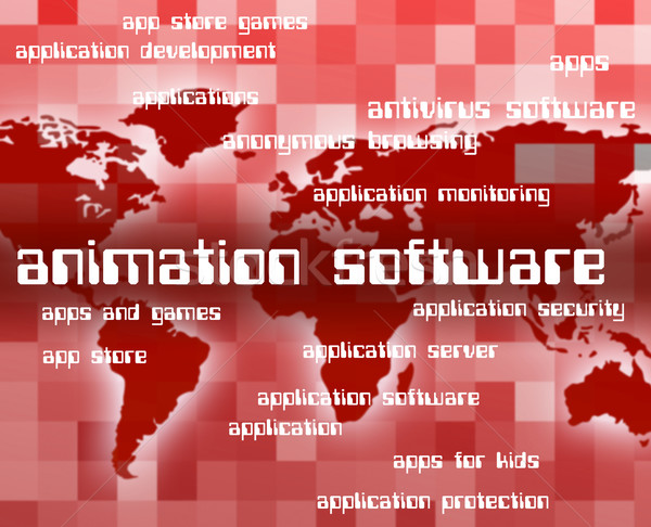 Animation Software Represents Programs Softwares And Freeware Stock photo © stuartmiles