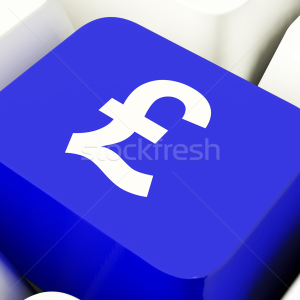 Pound Symbol Computer Key In Blue Showing Money And Investment Stock photo © stuartmiles