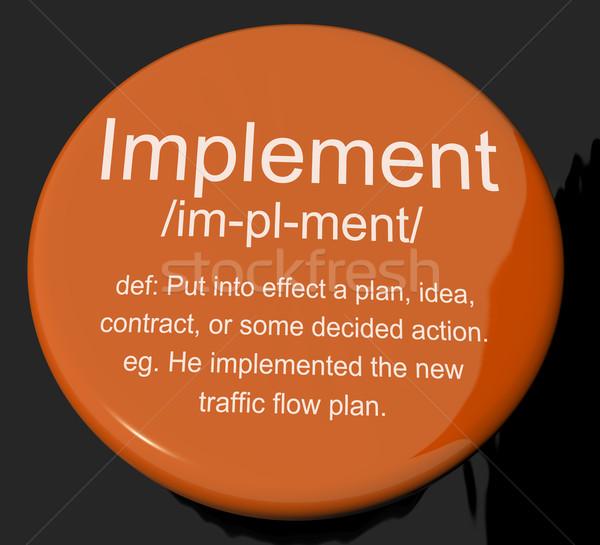 Foto stock: Definição · botão · fora · plano