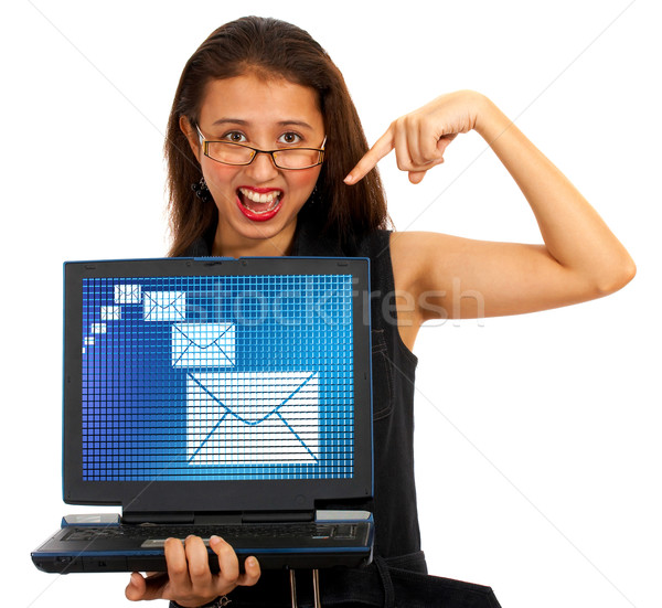 Email Envelopes On Screen Showing Emailing Or Contacting Stock photo © stuartmiles