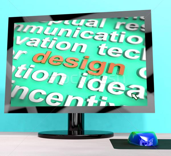 Design Word On Computer Shows Graphic Artwork Stock photo © stuartmiles