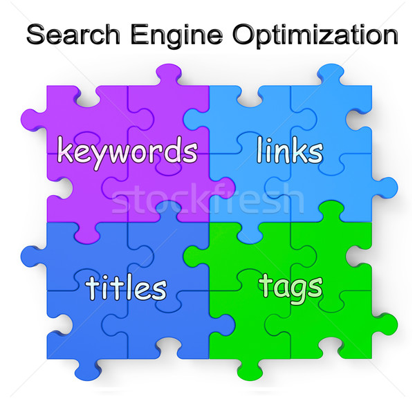 Search Engine Optimization Puzzle Shows Links And Tags Stock photo © stuartmiles