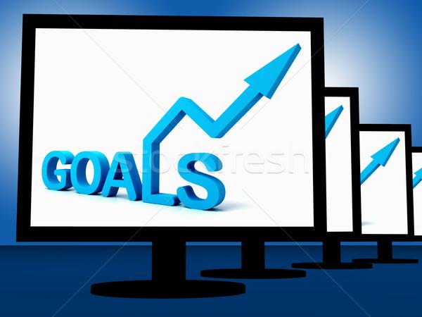 Goals On Monitors Showing Company's Targets Stock photo © stuartmiles