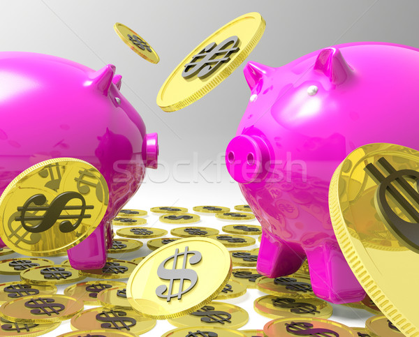 Raining Coins On Piggybanks Shows American Profit Stock photo © stuartmiles