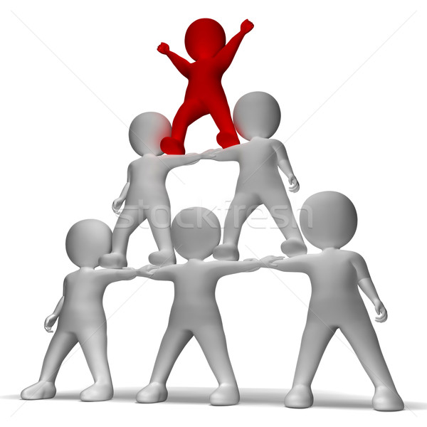 3d Character Pyramid Shows Hierarchy And Teamwork  Stock photo © stuartmiles