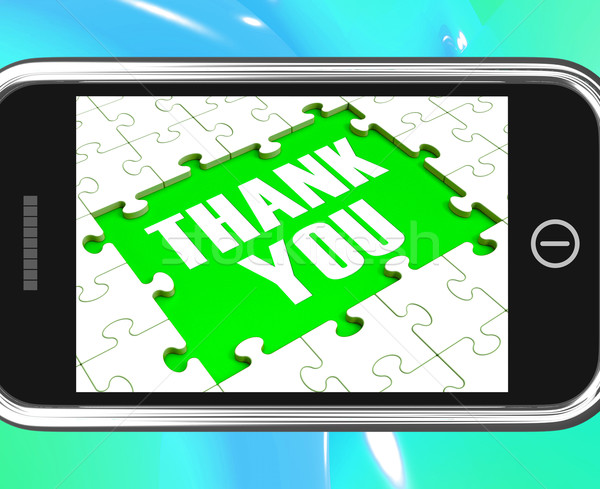 Thank You On Smartphone Shows Gratitude Texts And Appreciation Stock photo © stuartmiles