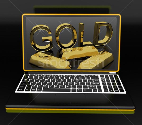 Gold On Laptop Showing Treasury Stock photo © stuartmiles