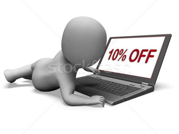 Ten Percent Off Monitor Means 10% Deduction Or Sale Online