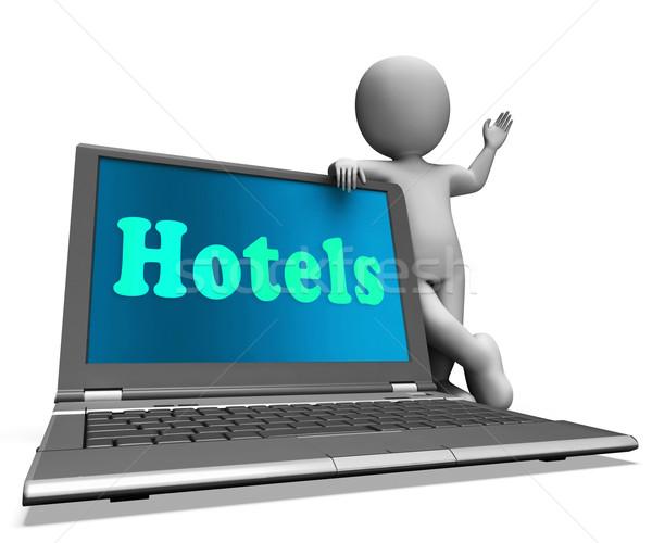 Hotel laptop motel kamers tonen Stockfoto © stuartmiles