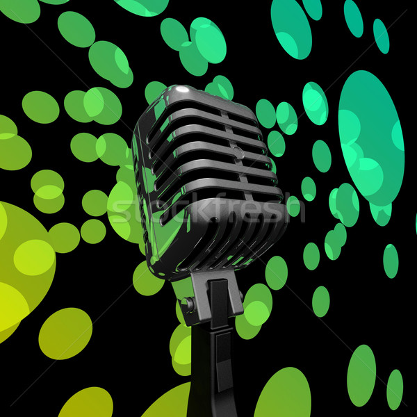 Mic And Lights Shows Microphone Concert Entertainment Or Music S Stock photo © stuartmiles