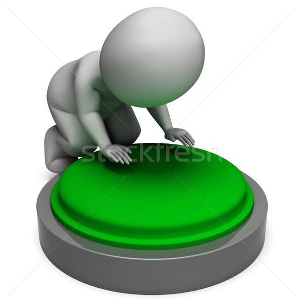 Pushing Green Button Shows Start Stock photo © stuartmiles