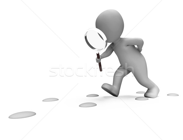 Detective Character Following Footprints Shows Investigate Inves Stock photo © stuartmiles