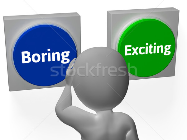 Boring Exiting Buttons Show Dull Or Thrilling Stock photo © stuartmiles