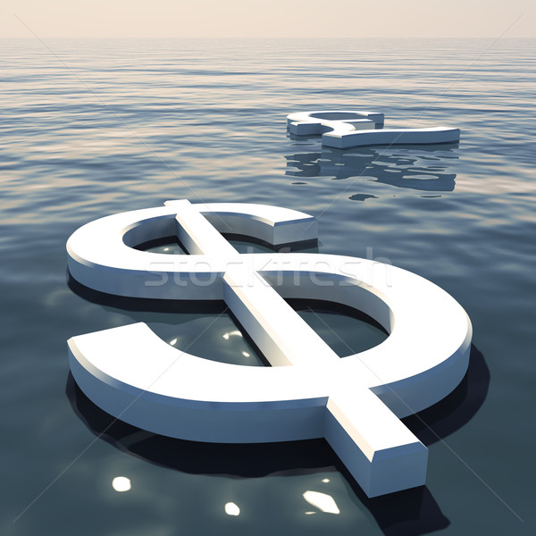 Dollar Floating And Pound Going Away Showing Money Exchange Or F Stock photo © stuartmiles