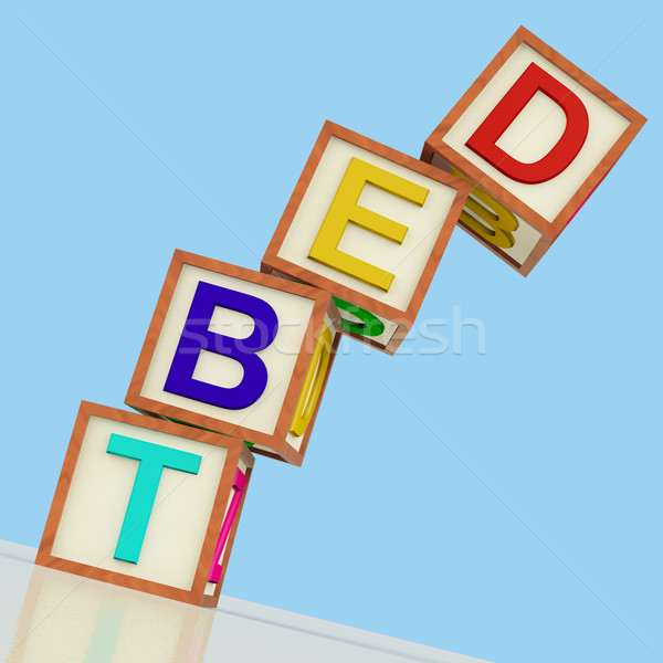 Debt Blocks Showing Bankruptcy Poverty And Being Broke Stock photo © stuartmiles