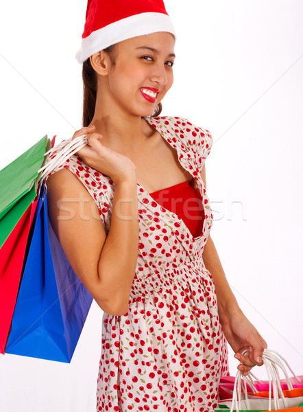 Smiling Girl Finished Her Christmas Shopping Stock photo © stuartmiles