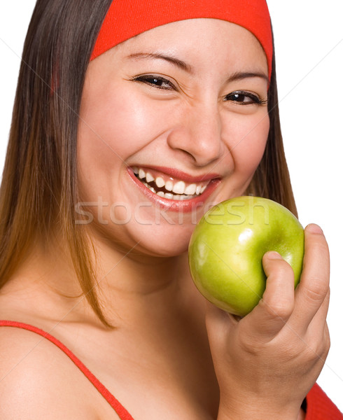 Woman Holding Nutritious Apple Stock photo © stuartmiles