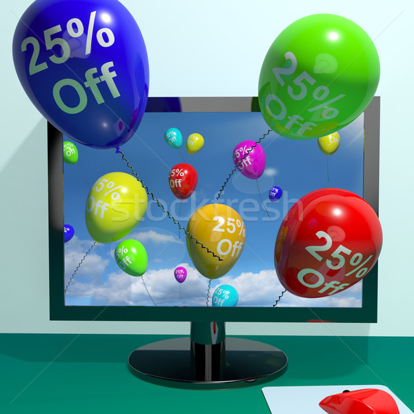 25 af ballonnen computer tonen verkoop Stockfoto © stuartmiles