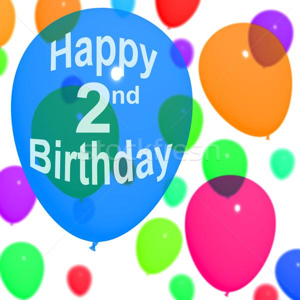Ballons célébrer deuxième anniversaire Photo stock © stuartmiles